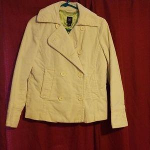 Gap cream colored corduroy button up pea coat
